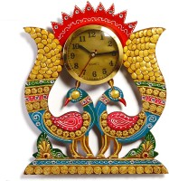 Aapno Rajasthan Twin Peacock In Rajastani Clay And Wood Craft Analog Wall Clock (Multicolor)