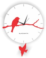 Blacksmith Bird With Pendulum White & Red Analog Wall Clock White