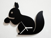 Blacksmith Cute Squirrel Holding An Acorn Analog Wall Clock (Black)