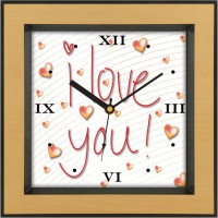 Shopping Monster Designer Love You Analog Wall Clock (Brown)