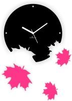 Zeeshaan Maple Leaves Black And Pink Analog Wall Clock Black, Pink