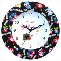 Random Trendy Kids Love Black Analog Wall Clock Multicolor