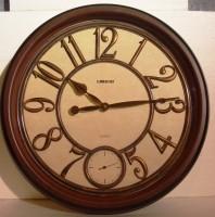 Lisheng Analog 42 Cm Dia Wall Clock Brown, With Glass