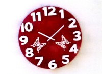 Panache 3D With Butterfly Analog Wall Clock (Multicolor)