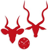 Blacksmith Red Deer Horn Analog Wall Clock Red