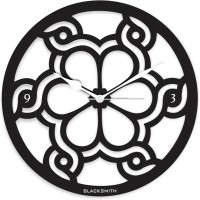 Blacksmith Designer Flower Black Analog Wall Clock Black