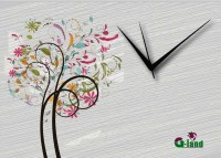 G-land Wooden Print 178DEZ Analog Wall Clock (Multicolor)