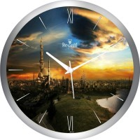 Regent Silver City View Analog Wall Clock (Shiny Silver)