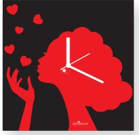 Zeeshaan Flying Kiss Black And Red Analog Wall Clock Black, Red