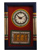 Unravel India Analog Wall Clock Blue Border With Red Base