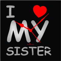 Zeeshaan I Love My Sister Black Analog Wall Clock Black