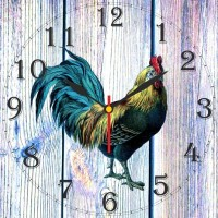 Go Hooked Rooster Design Printed Analog Wall Clock Multicolor