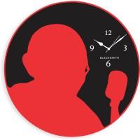 Blacksmith Black Red Mahatma Gandhi Analog Wall Clock Black