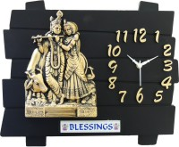 Feelings Cafe Club Radha Krishna Antique Analog Wall Clock (Black)