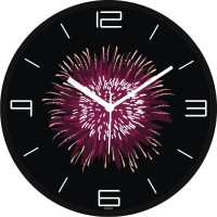 Regent Pink Designer Cracker Analog Wall Clock (Shiny Black)
