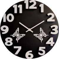 Basement Bazaar 3D Butterfly Analog Wall Clock (Black)