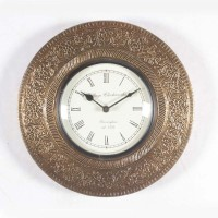 Home And Bazaar Rajasthani Analog Wall Clock (Brass)