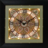 ECraftIndia Flower Decorated Marble With LED And Wooden Frame Analog Wall Clock (Black)