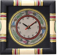 Aapno Rajasthan Hand Painted Worli Style Wood Analog Wall Clock (Multicolor)