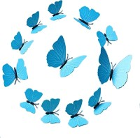 KARP Removable 12 Pcs Magnet Art Design Decorative 3D Butterfly Wall Sticker/Decal For Home Decor -Plain Blue (18, Plain Blue)