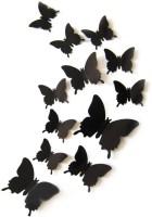 ADMI Removable 12 Pcs 3D Butterfly Wall Stickers- Plain Black (cm 13, Black)