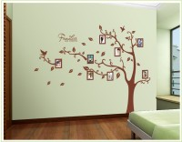 Oren Empower 2pc/set (Double Sheet) Extra Large Tree Wall Sticker With Photo Frames (160 Cm X Cm 216, Brown)