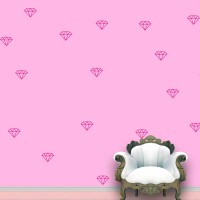 WallDesign Diamond Wall Pattern Pink Stickers Set Of 55 (7.5 Cm X Cm 10, Pink)