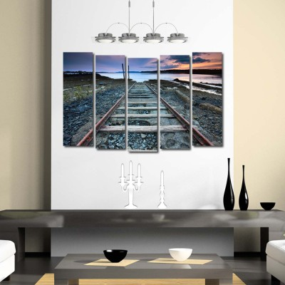 999store multiple frames printed train track like modern wall art painting 5 frames 148