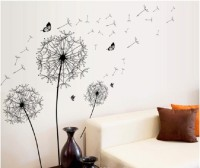 Icable Large Decorative Kids Room Decoration 3d Stickers Removable Flying Dandelion (90 Cm X Cm 60, Black)