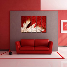 999Store Multiple Frames Printed Flower Leaves like Modern Wall Art Painting - 5 Frames (148 X 76 Cms)