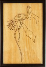 Bion Creations Wall Decorations Bion Creations Wooden Carved Painting Flower & Scaf
