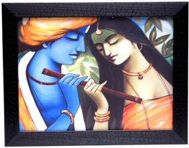 Hrinkar Lord Krishna Wall Decor Printed (Photo Size 12 w X 9 H inch) Painting Frame- FRM26