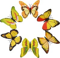 KARP 6 Pcs Removable Magnet Wall 3D Butterfly Sticker-Yellow (Yellow)