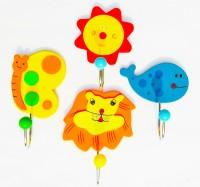 Kuhu Creations Animal Cartoon Wooden Wall Hanging Hook Hanger (10 Cm X Cm 6, Multicolor)