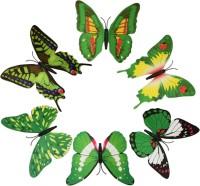 KARP 6 Pcs Removable Magnet Wall 3D Butterfly Sticker-Green (Green)