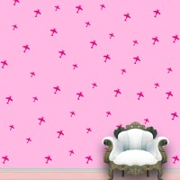WallDesign Aeroplanes Wall Pattern Pink Stickers Set Of 52 (12.5 Cm X Cm 11.25, Pink)