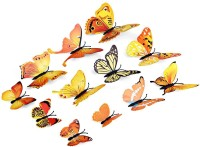 ADMI Removable 12 Pcs 3D Butterfly Wall Stickers - Yellow (17 Cm X Cm 13, Yellow)