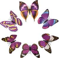 KARP 6 Pcs Removable Magnet Wall 3D Butterfly Sticker-Purple (14, Purple)