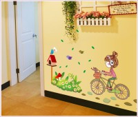 Oren Empower Cute Cartoon - A Little Charming Girl Riding On Her Bike Large Wall Sticker (80 Cm X Cm 120, Multicolor)