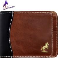 Black Horse Men Tan Genuine Leather Wallet 6 Card Slots