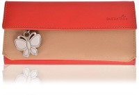 BUTTERFLIES Women Casual Beige, Red Clutch: Clutch