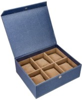 Swiss Design Eco Leatherette Watch Box Blue Metalic, Holds 6 Watches