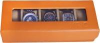 Krio Designs Premium Cushioned Organizer Case For Men Women Leather Sports Wrist Watch Box Orange, Holds 5 Watches