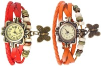Pappi Boss Combo Offer Set Of 2 Vintage Red & Orange Leather Bracelet Butterfly Analog Watch  - For Girls, Women
