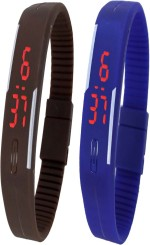 Y&D Wrist Watches Y And D Combo of Led Band Brown + Blue Digital Watch For Boys, Couple, Girls, Women, Men