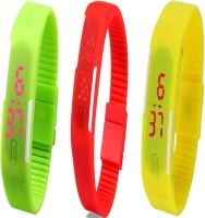Opulent Combo Of Led Band Green + Red + Yellow Digital Watch  - For Boys, Couple, Girls, Men, Women