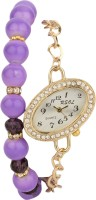 Addic Stunning Chain Dark Purple Beads Studded Golden WW008 Analog Watch  - For Women