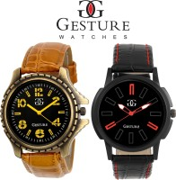 Gesture Combo Of 2 Yellow And Blue Diplomat Combination Analog Watch  - For Men