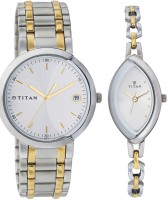 Titan Bandhan Analog Watch - For Couple (Silver, Gold)