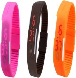Y&D Wrist Watches Y And D Combo of Led Band Pink + Brown + Orange Digital Watch For Boys, Couple, Girls, Women, Men